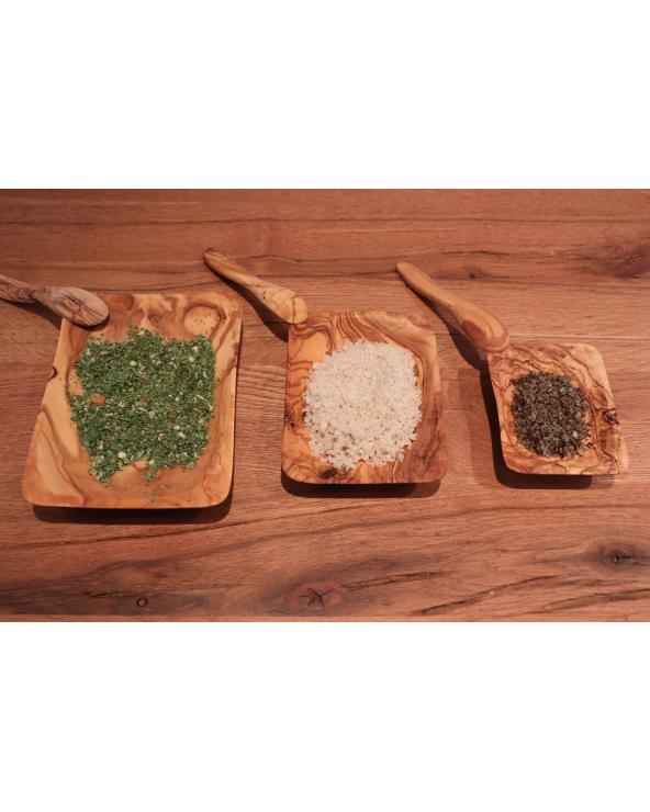 Lot de 3 assiettes carrées en bois d'olivier