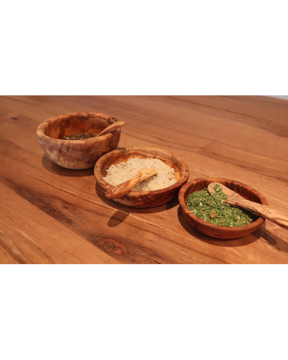 Lot de 3 plats ronds en bois d'olivier