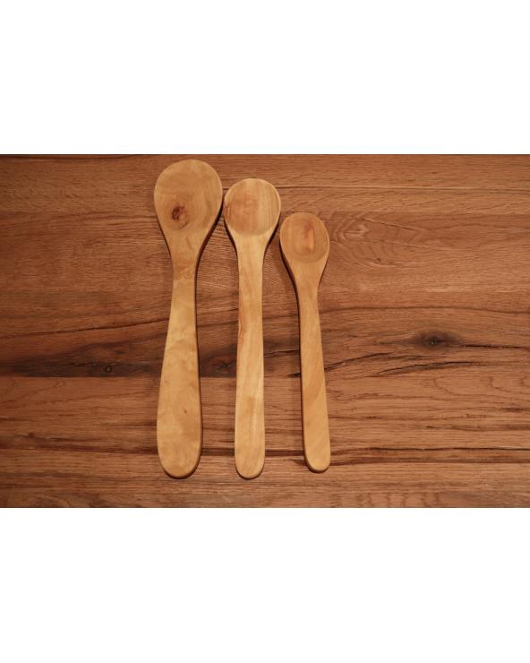Lot de 3 cuillères de cuisine en bois d'olivier