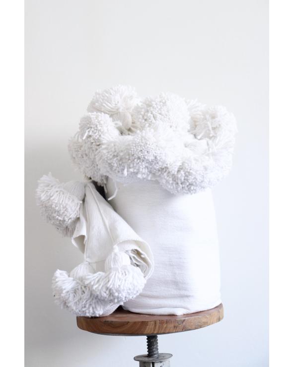 Plaid à pompons Blanc (3x2m)