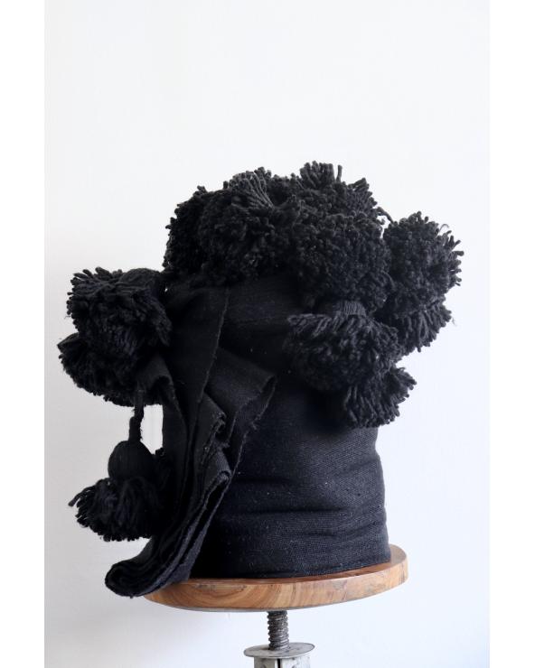 Plaid à pompons Noir (3x2m)